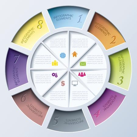 ビジネスのプロジェクトまたは円が 8 つのセグメントでプレゼンテーションの抽象的な近代的なテンプレートです。  イラスト・ベクター素材