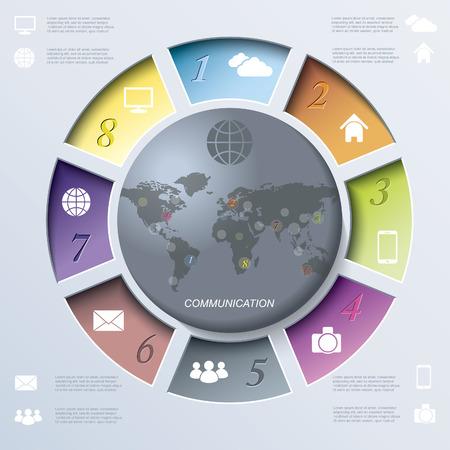 Web デザインやサークルと 8 つのセグメントのプレゼンテーションの抽象テンプレートです。