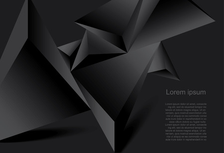negro: Fondo negro Resumen forma geométrica poligonal