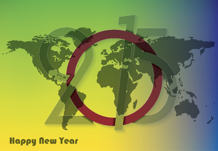 Creative greeting card design new year 2015  with world map Vector