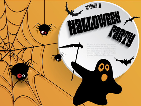 Creative Halloween party poster with message. Vector