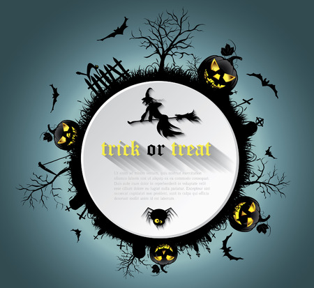 Abstract Halloween background  with  graveyard, witch, pumpkin, bats and text place Illustration