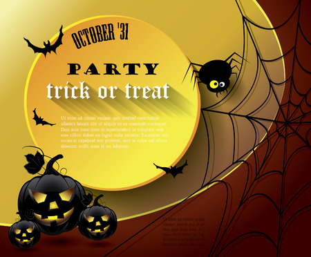 Halloween party poster with message. Vector
