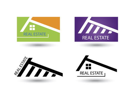 4 door: Set of icons for real estate business on white background.