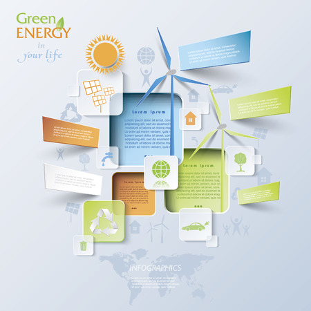 Abstract vector Infographic with wind turbines, green energy concept.   Vector