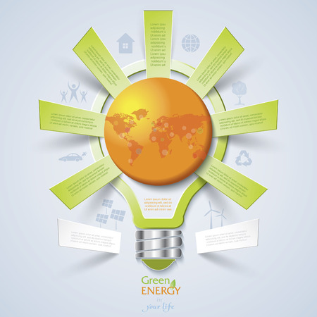 environmentally friendly: Modern design template with light bulb, idea for ecology concept. Vector illustration Illustration