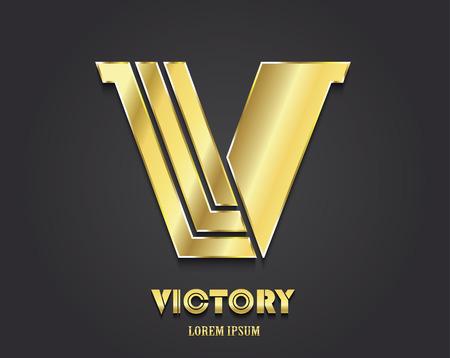Golden Letter V from alphabet (symbol of victory)  イラスト・ベクター素材