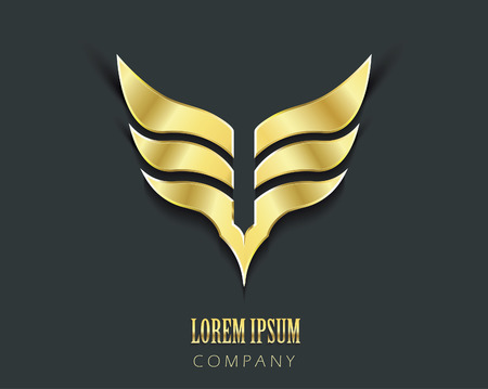 Golden wings vector graphic symbol Vector
