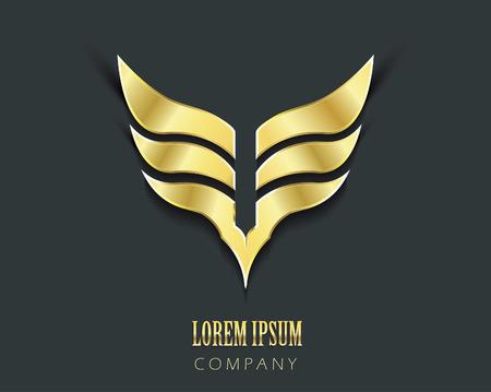 3d shield: Golden wings vector graphic symbol Illustration