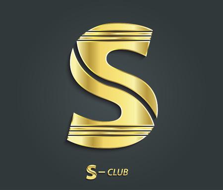 Vector golden symbol from alphabet Letter S