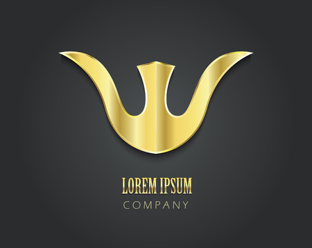 crown logo: Abstract vector golden symbol for your company in form of tulip Illustration