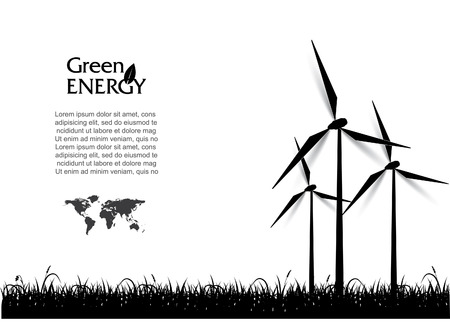wind: Abstract vector with wind turbines, green energy concept. Illustration