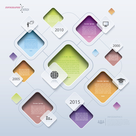 cuadrados: Moderno diseño vectorial abstracto infografía estadística, trabajo en equipo, la educación, los negocios o la presentación con cuadrados Vectores