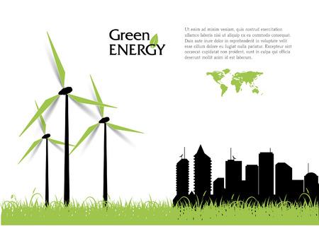 Creatieve vector met windturbines, groene energie concept.