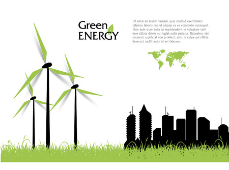 clean energy: Creative vector with wind turbines, green energy concept. Illustration