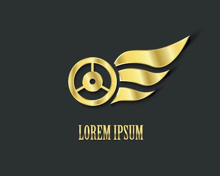 symbol sport: Goldenen Fl�geln mit Rad Illustration