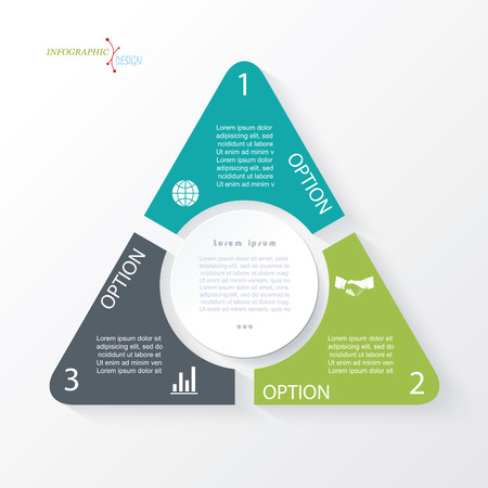 Business concept design with triangle and 3 segments. Infographic template can be used for presentation, web design, workflow or graphic layout, diagram, numbers options Vectores