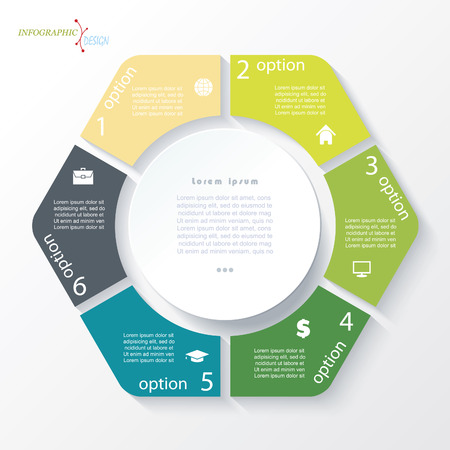 six: Business concept design with circle and 6 segments. Infographic template can be used for presentation, web design, workflow or graphic layout, diagram, numbers options