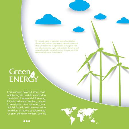 energy logo: Vector brochure design with wind turbines, green energy concept.  Modern template Illustration