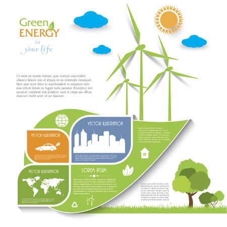 Creative vector Infographic design with wind turbines, green energy concept.  Modern template Vector