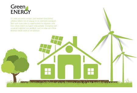 Creative vector renewable energy concept. Wind turbines, solar energy