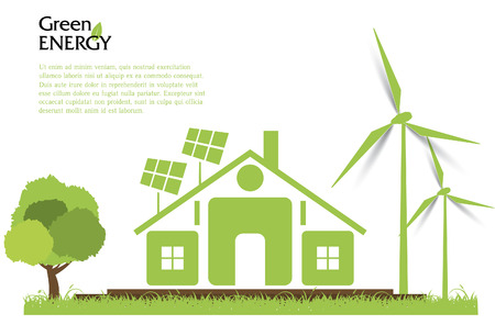 Vecteur Creative concept d'énergie renouvelable. Les éoliennes, l'énergie solaire