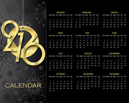 暗い背景に創造的なカレンダー 2016年ベクター デザイン テンプレート  イラスト・ベクター素材