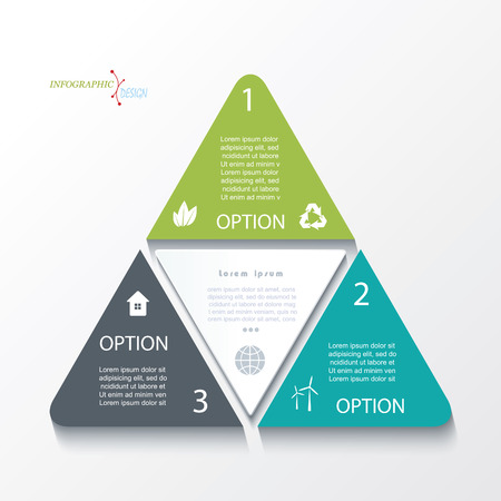 Business concept design with triangles.  Infographic template can be used for presentation, web design, workflow or graphic layout, diagram, numbers options