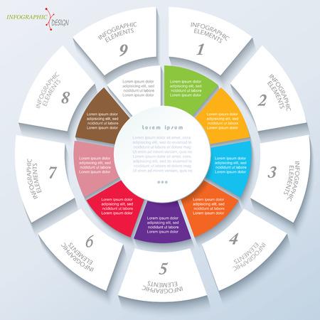 Plantilla moderna de proyecto empresarial o la presentación con el círculo y nueve segmentos. Ilustración vectorial se puede utilizar para el diseño web, flujo de trabajo o el diseño gráfico, diagrama, la educación Ilustración de vector
