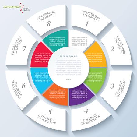 ビジネスのプロジェクトまたは円と 8 つのセグメントのプレゼンテーションのモダンなテンプレートです。ベクトル図は web デザイン ワークフロー