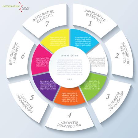 ビジネスのプロジェクトまたは円と 7 セグメントのプレゼンテーションのモダンなテンプレートです。ベクトル図は web デザイン ワークフローまた  イラスト・ベクター素材