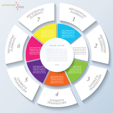 Modern template for business project or presentation with circle and seven segments. Vector illustration can be used for web design, workflow or graphic layout, diagram, education