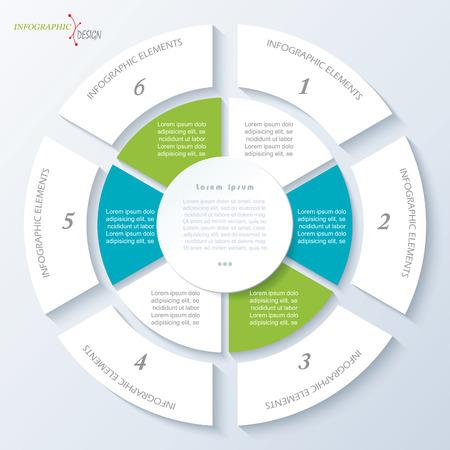 Moderne sjabloon voor business project of presentatie met cirkel en zes segmenten. Vector illustratie kan worden gebruikt voor web design, workflow of grafische lay-out, diagram, onderwijs