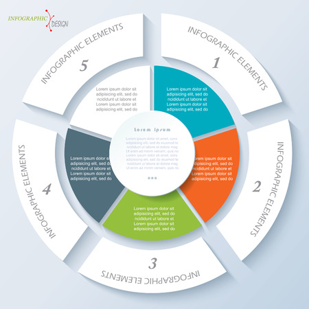 Moderne sjabloon voor business project of presentatie met cirkel en vijf segmenten. Vector illustratie kan worden gebruikt voor web design, workflow of grafische lay-out, diagram, onderwijs Stock Illustratie