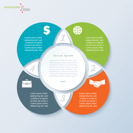 ビジネスのプロジェクトまたは 4 つの円のセグメントのプレゼンテーションのインフォ グラフィック テンプレートです。ベクトル図は web デザイン