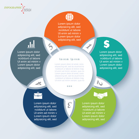 five element: Circles Infographic template for business project or presentation. Vector illustration can be used for web design, workflow or graphic layout, diagram, education Illustration