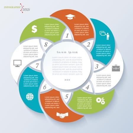 ビジネスのプロジェクトまたは 8 つのセグメントのプレゼンテーションのインフォ グラフィック テンプレートです。ベクトル図は web デザイン ワー  イラスト・ベクター素材