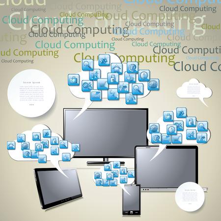 note pc: template cloud computing concept Illustration