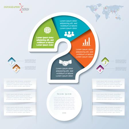 punto interrogativo: Creativo mark vettore questione pu� essere utilizzato per il web design, brochure aziendale, modello di presentazione, processo di formazione, il layout, schema, le opzioni numero