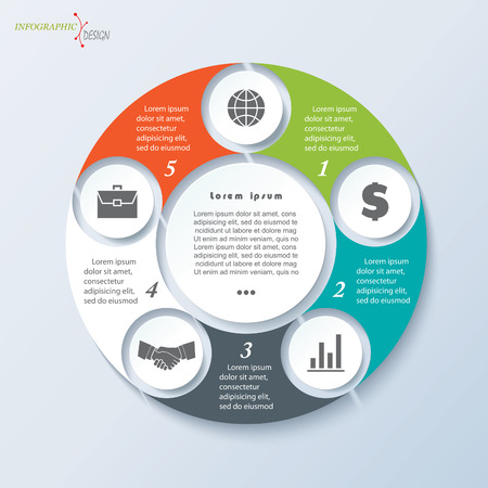 segments: Vector template for business project or presentation with circle and five segments can be used for web design, workflow or graphic layout, diagram, education Illustration