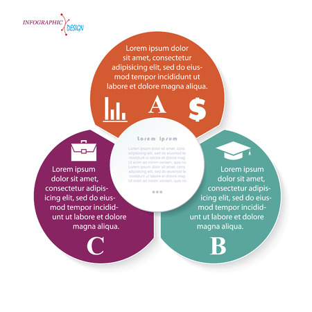 three: Infographic business template for project or presentation with three circle segments. Vector illustration can be used for web design workflow or graphic layout diagram education