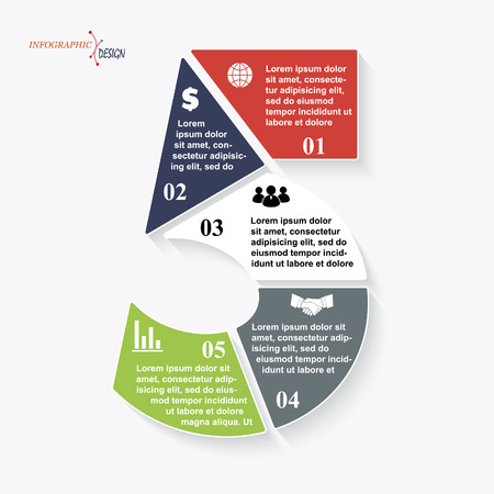 Number 5 template for business project or presentation with segments. Vector illustration can be used for web design work flow or graphic layout diagram education  イラスト・ベクター素材