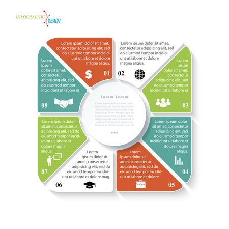ビジネスのプロジェクトまたは 8 つのセグメントのプレゼンテーションのモダンなテンプレートです。ベクトル図は、web デザインのワークフローま
