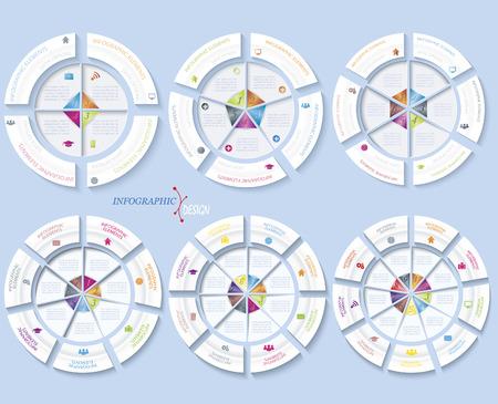 事業やサークルとセグメントのプレゼンテーションのためのモダンなテンプレートのセットです。ベクトル図は、web デザインのワークフローまたは
