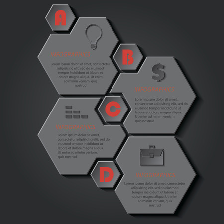 four elements: Infographic template for business project or presentation with four elements for text can be used for web design, workflow or graphic layout, diagram, education Illustration