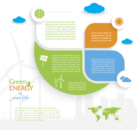 wind energy: Creative vector Infographic design with wind turbines, green energy concept. Modern template