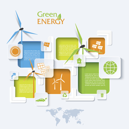 eco logo: Creative vector Infographic design with wind turbines, green energy concept. Modern template