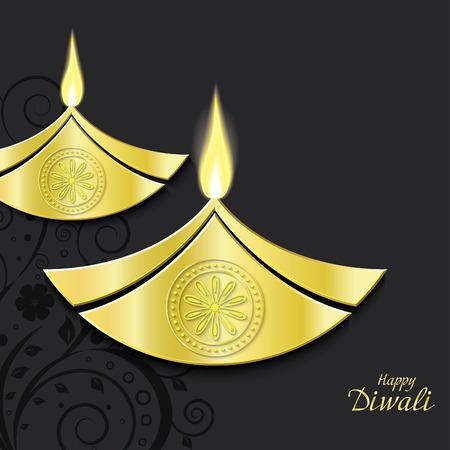 diya: Vector design of burning diwali diya