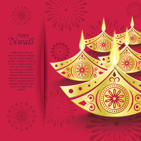 Creative vector design of burning diwali diya for greeting card