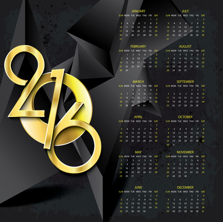 numbers abstract: Calendar 2016 vector design template on abstract dark background with golden numbers